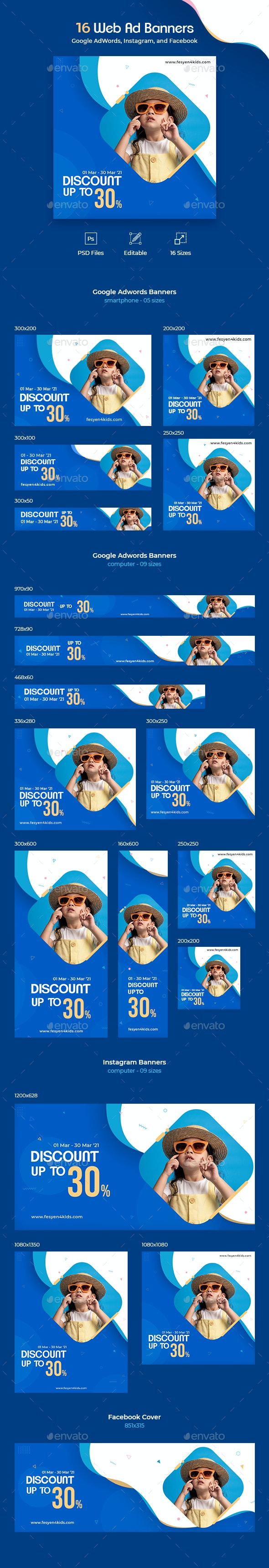 16 Web Ad Banners - Banners & Ads Web Elements