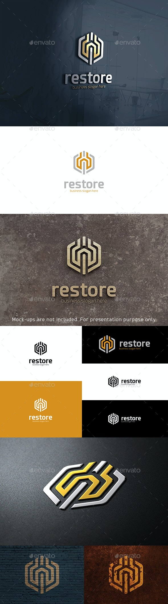 Restore Logo Hexagonal Abstract Symbol with Wrench - Objects Logo Templates