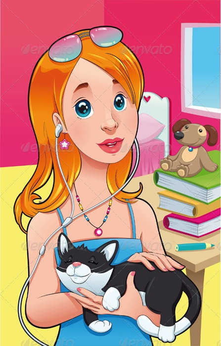 Girl with cat.  - People Characters