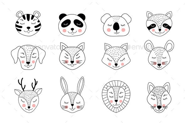Collection of Hand Drawn Animals - Animals Characters