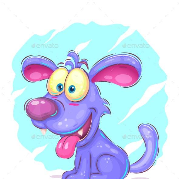 Blue cartoon puppy