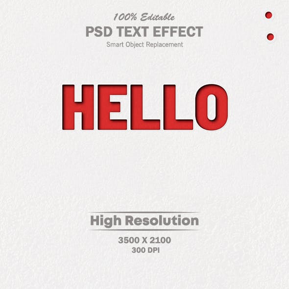 Hello Paper Cut Out PSD Text Effect