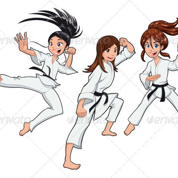 Young girls, Karate Players.