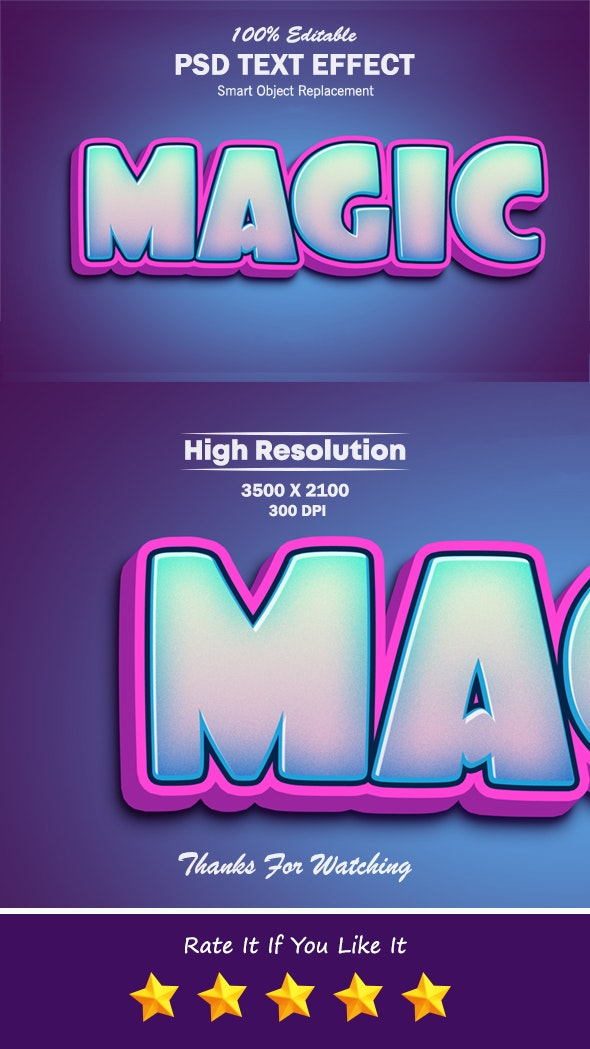 Magic 3D Photoshop Text Effect - Text Effects Styles