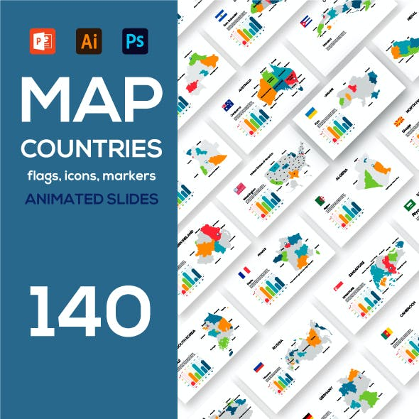 Animated maps of countries and the world