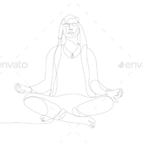 Meditating Man One Line Art