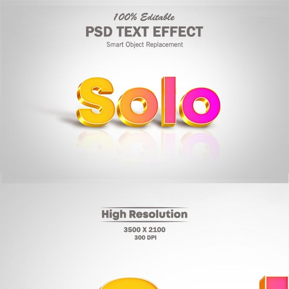 Solo Cool Gradient Text Effect with Shadow and Reflection