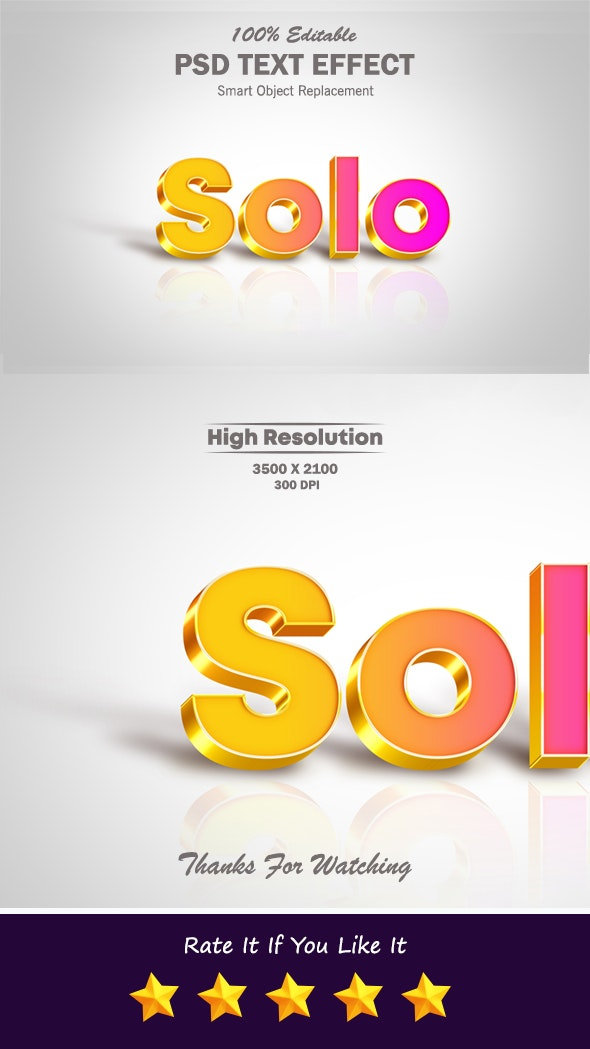 Solo Cool Gradient Text Effect with Shadow and Reflection - Text Effects Styles