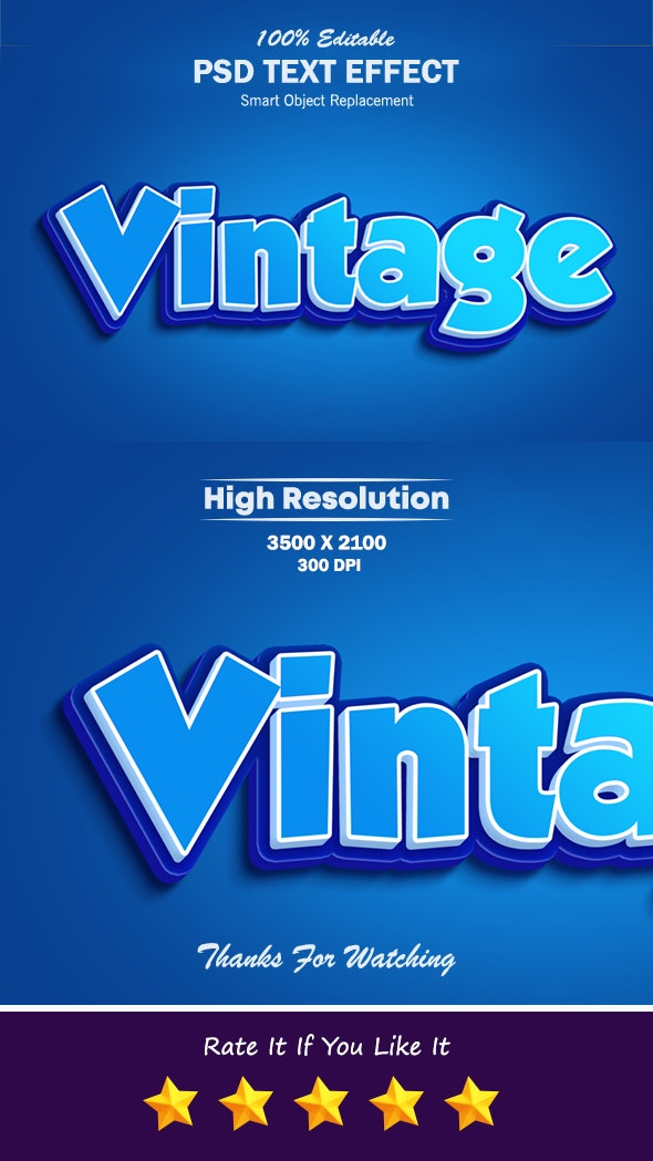 Vintage Blue Color Text Effect - Text Effects Styles