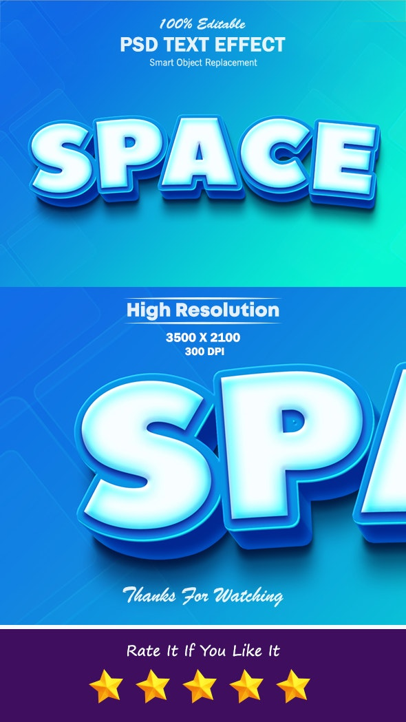 Space Cool Blue and White 3D Text Effect - Text Effects Styles