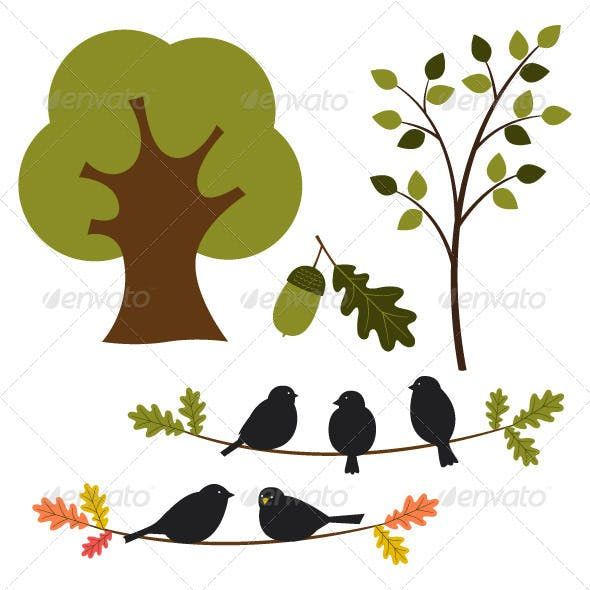 Vector tree and nature set.