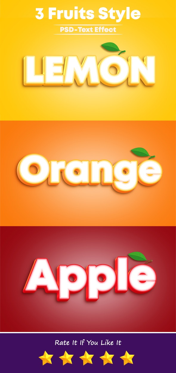 3 Fruits Style Photoshop Text Effect - Text Effects Styles