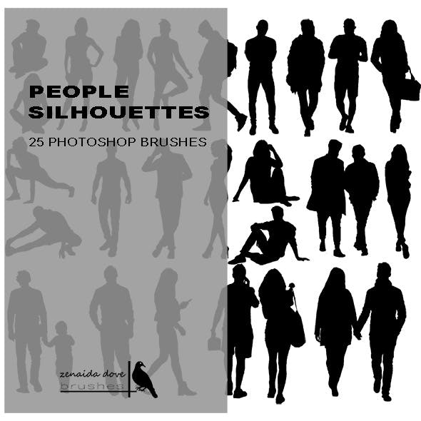 People Silhouettes Photoshop Brushes