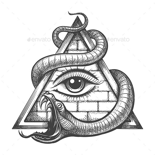 All seeing Eye in Magic Triangle Entwined by Snake