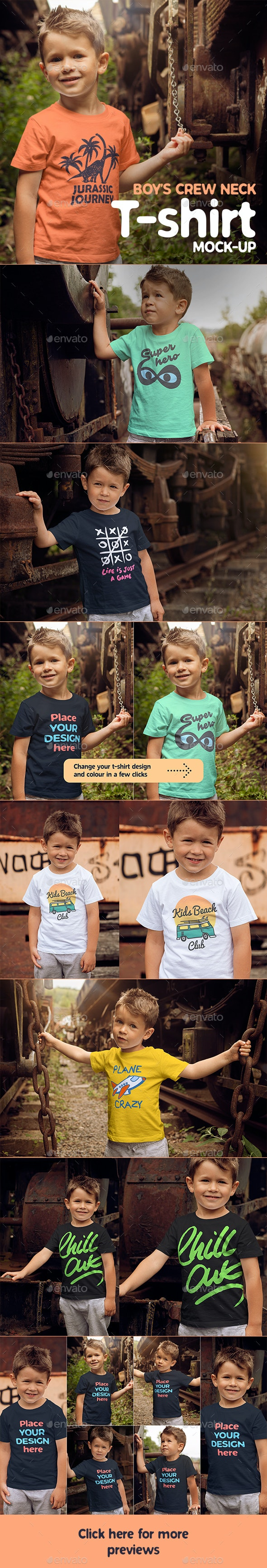 Boys T-shirt Mock-up - T-shirts Apparel