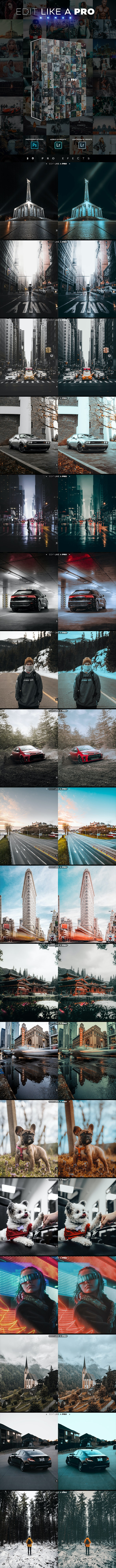 Edit Like A Pro Serie - Photoshop & Lightroom Effects - Photo Effects Actions