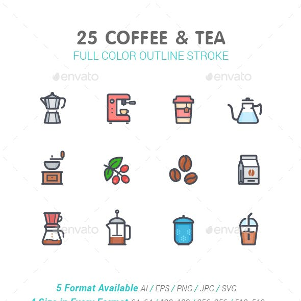 Coffee and Tea Line with Color Icon