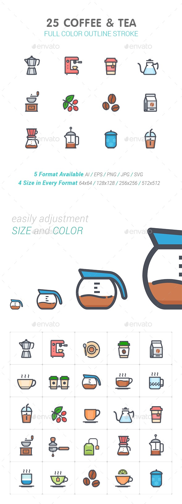 Coffee and Tea Line with Color Icon - Food Objects