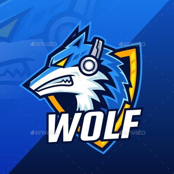 Beast Wolf Wearing Headphone Mascot Logo Design - Animals Logo Templates