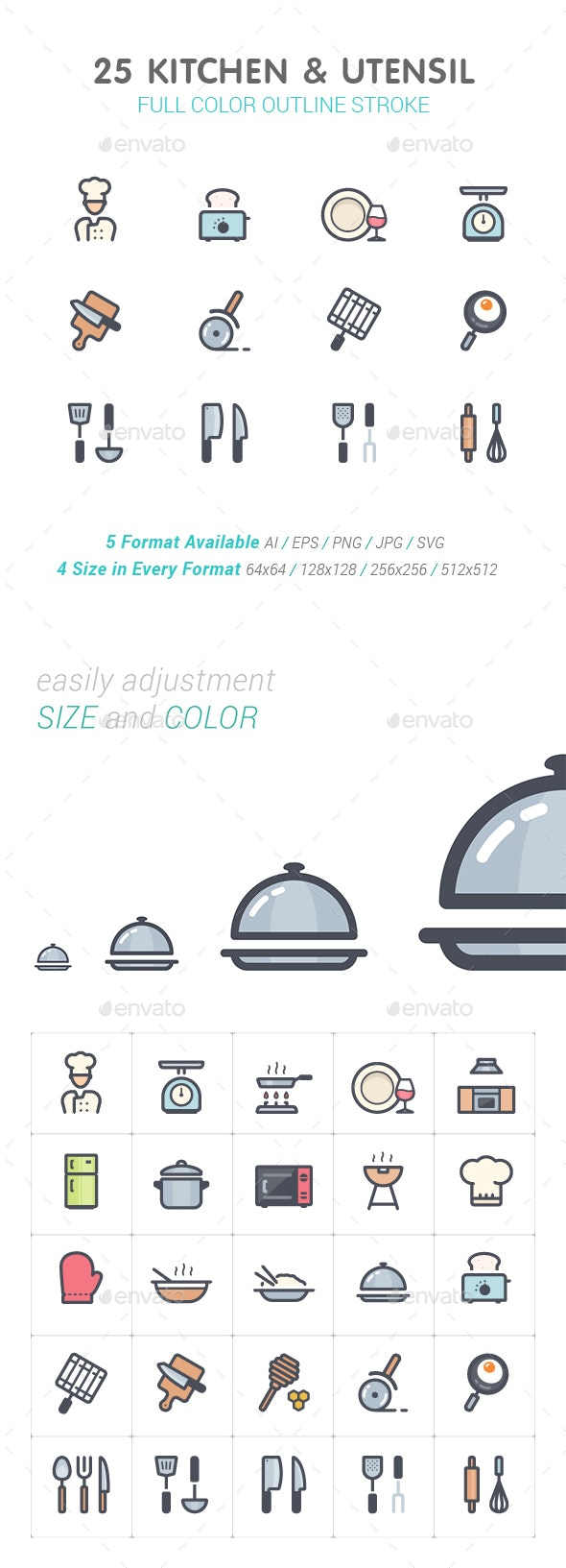 Kitchen and Utensil Color Icon - Objects Icons