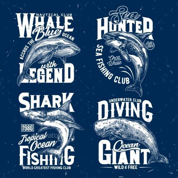 Sea Trophy Fishing Club Tshirt Print Template