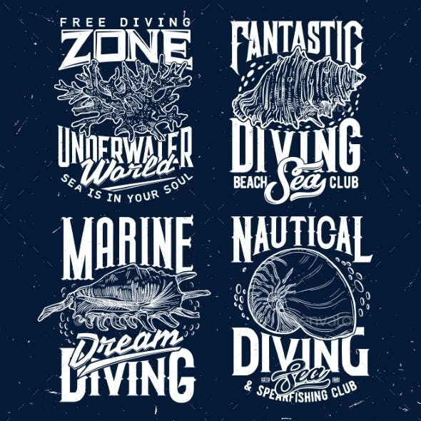 Tshirt Print with Sketch Sea Shells and Corals Set