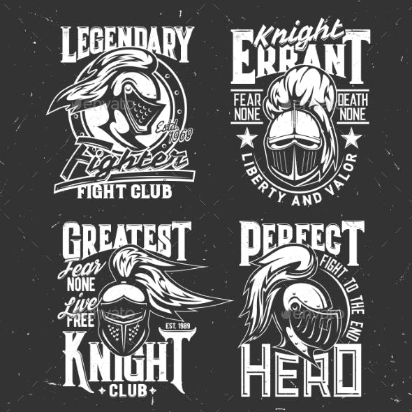 Tshirt Prints with Knight Heads Vector Mascots Set