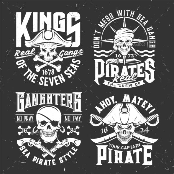 Tshirt Prints with Pirate Skull Mascot in Tricorn