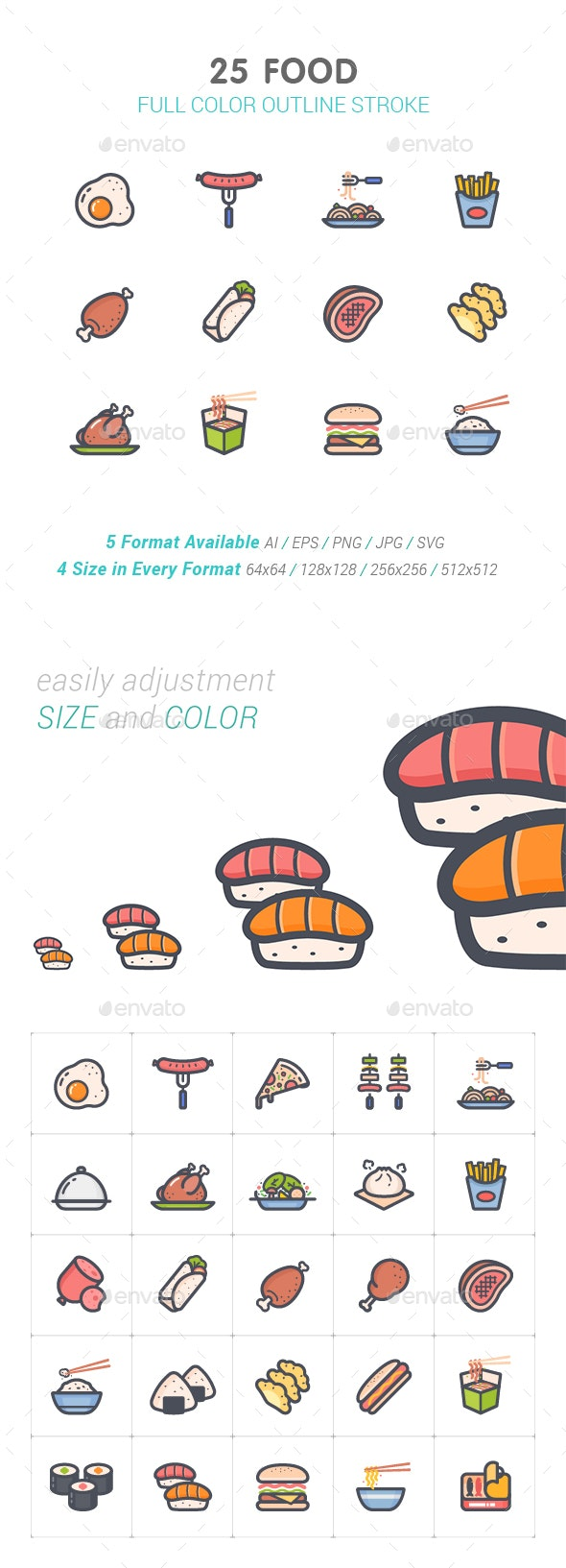 Food Line with Color Icon - Food Objects