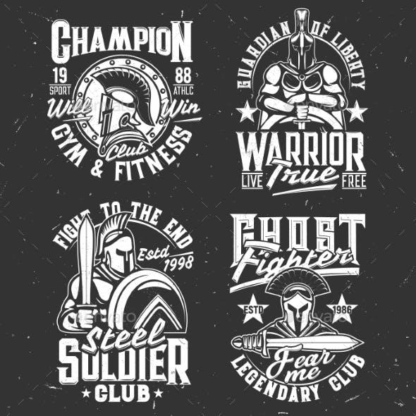 Gladiator Warriors with Sword Tshirt Prints Set
