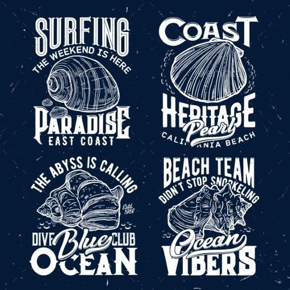 Tshirt Print with Ocean Shells Vector Emblems