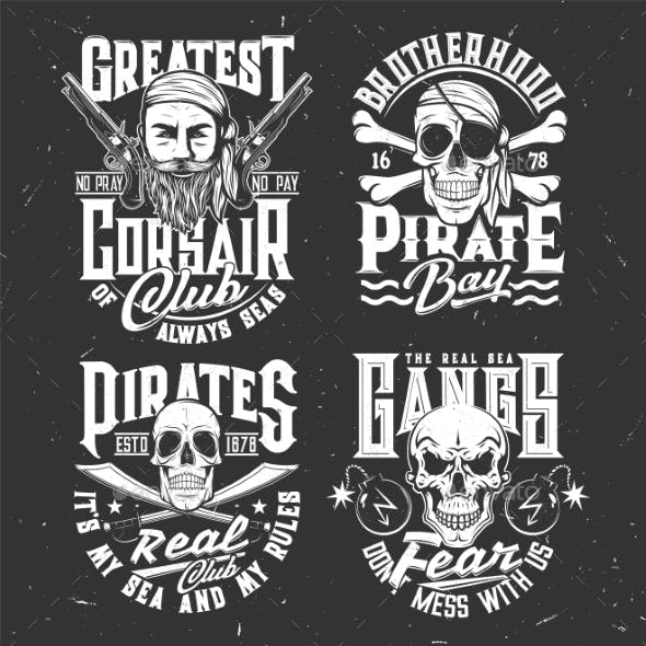 Tshirt Prints with Pirate Skull or Face in Bandana