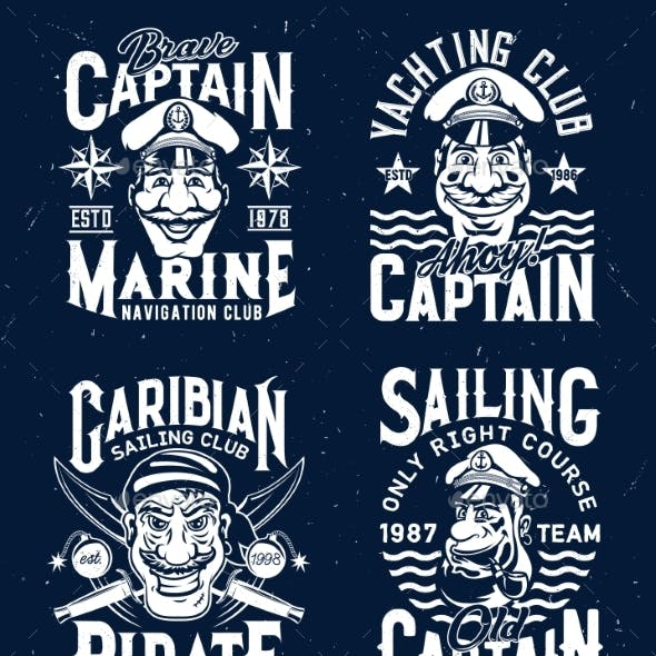 Tshirt Prints with Captains and Pirate Mascots