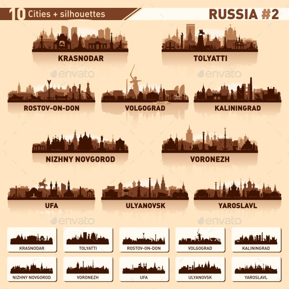 City Skyline Set. Russia. Part 2. Vector Silhouettes - Buildings Objects