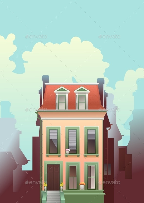 City Building Two Storey House - Buildings Objects