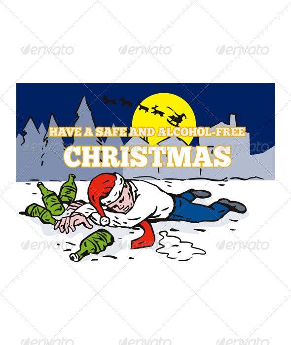 Drunk Man Wearing Santa Hat   - Christmas Seasons/Holidays