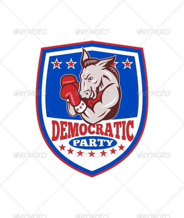 Democrat Donkey Mascot Boxer Shield  - Animals Characters