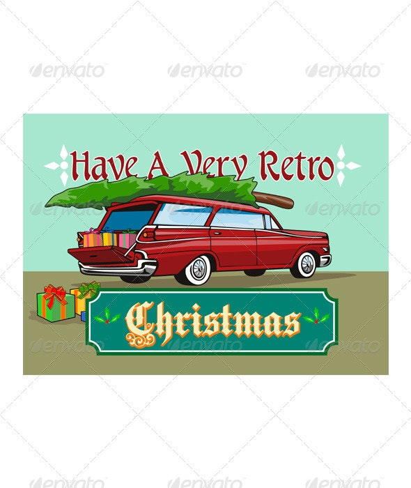 Retro Christmas Tree Station Wagon  - Christmas Seasons/Holidays