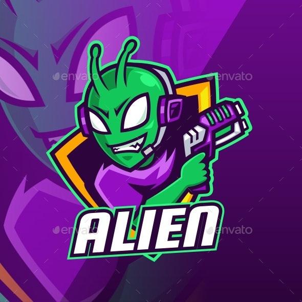 Alien with Laser Gun Esport Mascot Logo Design - Vector Abstract