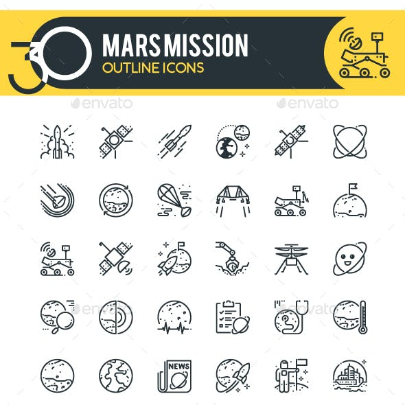 Mars Mission Outline Icons