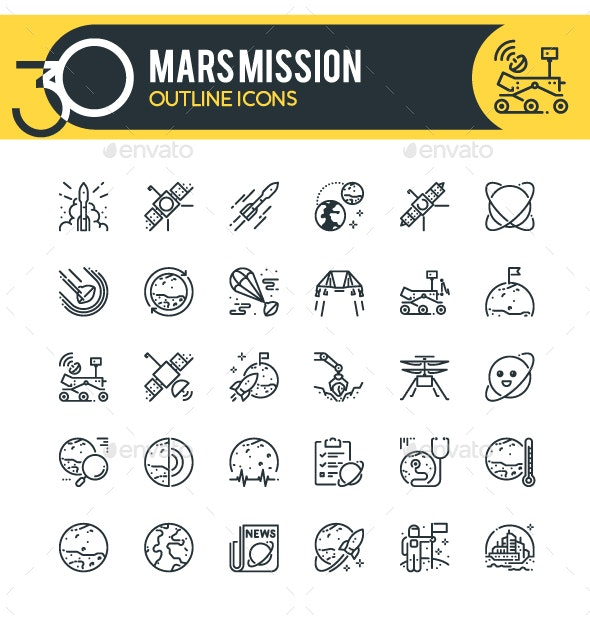 Mars Mission Outline Icons - Technology Icons