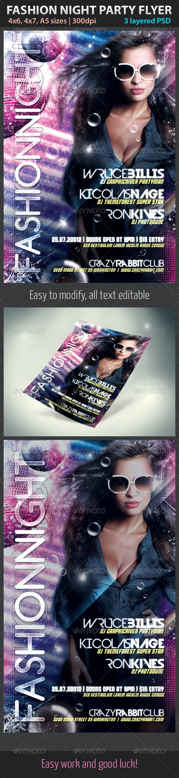 Fashion Night Party Flyer - Clubs & Parties Events