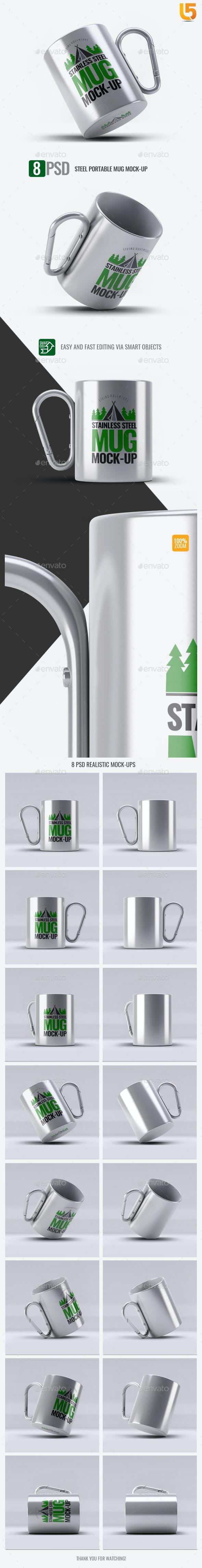 Steel Portable Mug Mock-Up - Food and Drink Packaging