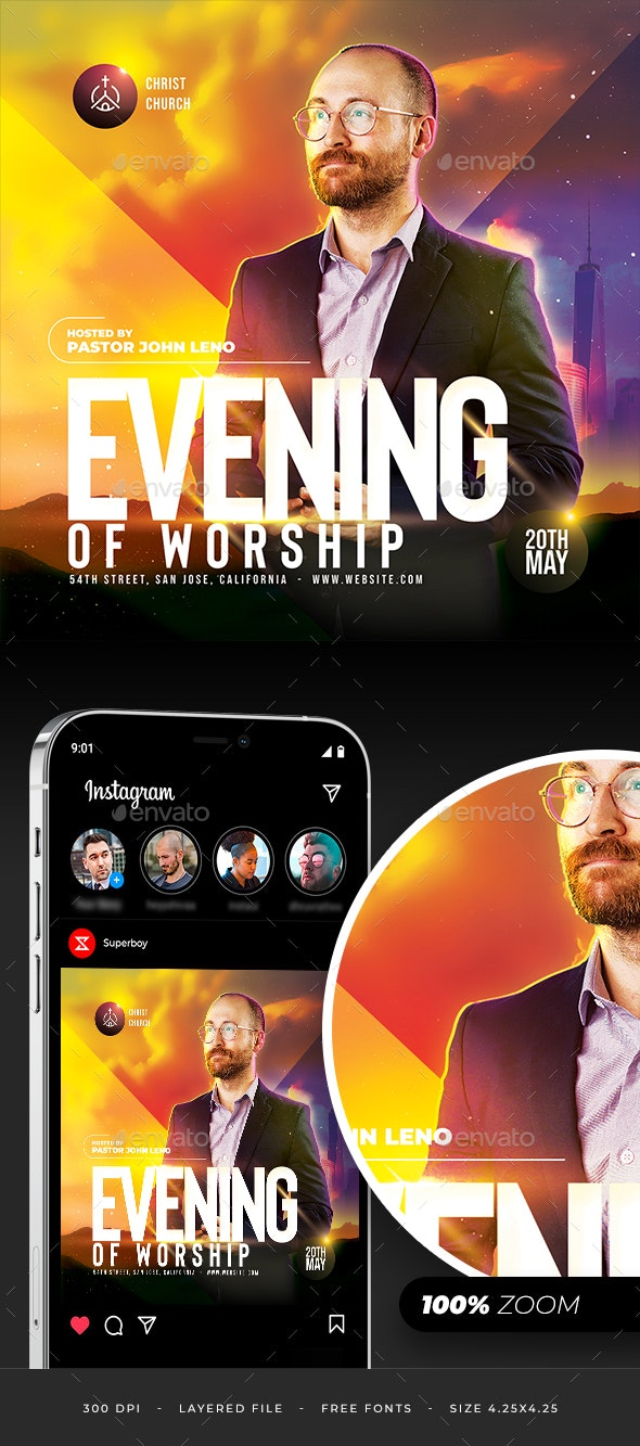 Evening Worship Flyer - Church Flyers