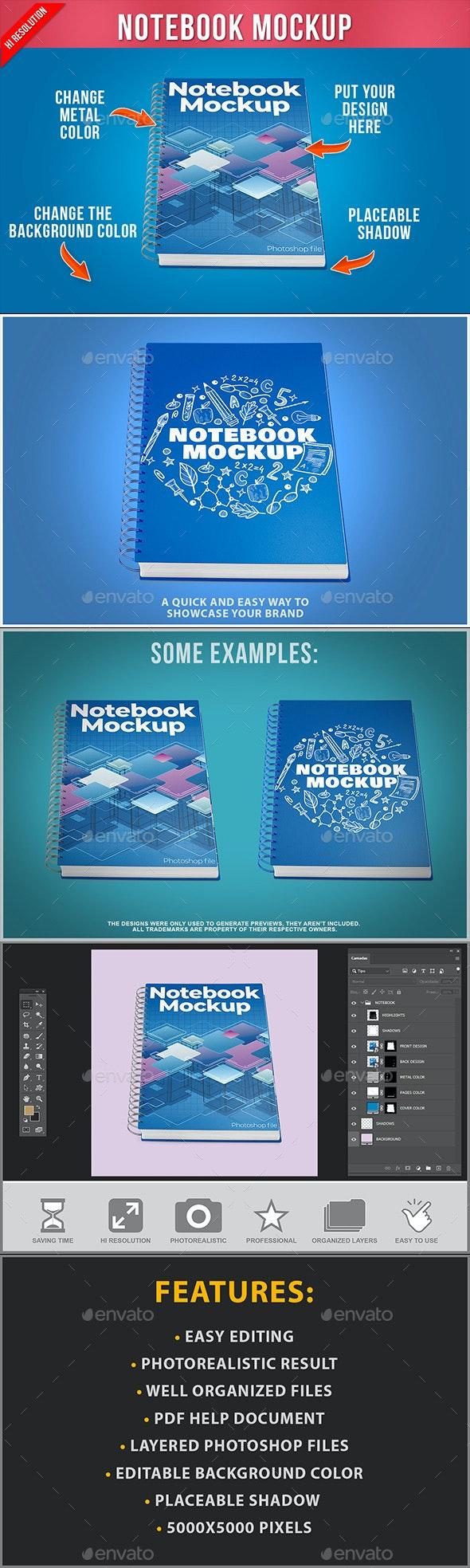 Notebook Mockup - Product Mock-Ups Graphics