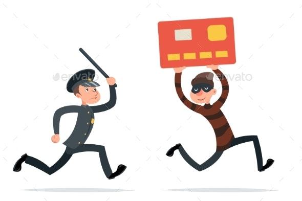 Credit Card Data Steal Thief Escape Internet - Business Conceptual