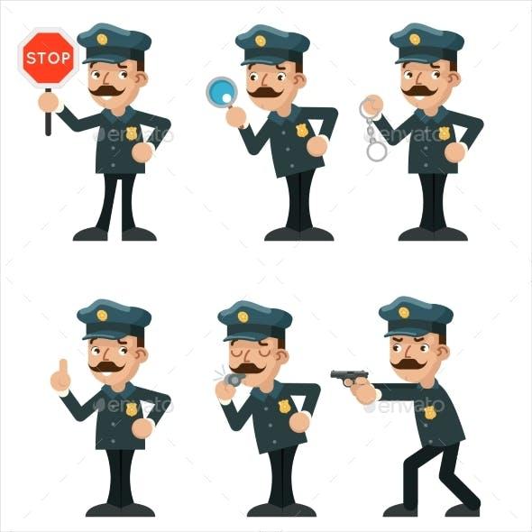Policeman Detective Different Gestures Actions