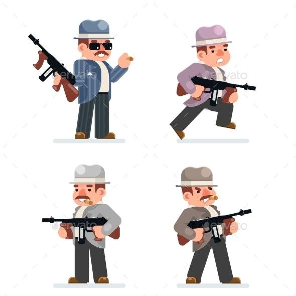 Retro Gangster Mafia Set Dangerous Criminal - Business Conceptual