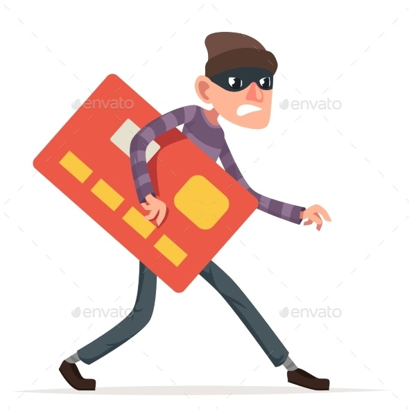 Thief Sneak Walk Credit Card Stolen Money Evil - Business Conceptual