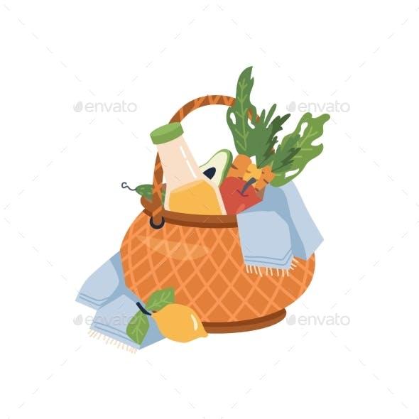 Picnic Basket with Blanket Fruits Lemonade Drink